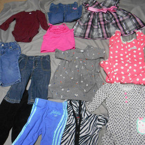 Lot of 11 girl's size 6-12 month's clothes